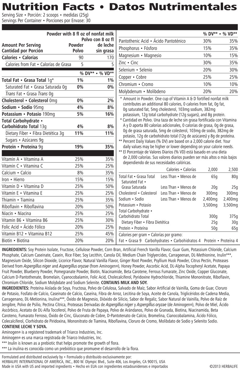 This is an image of Tactueux Herbalife Total Control Nutrition Label