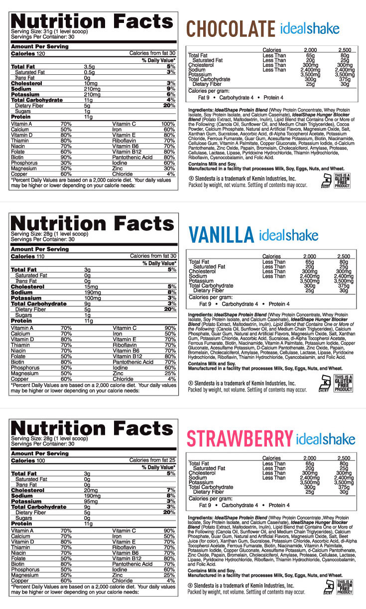 Idealshake Nutrition Label