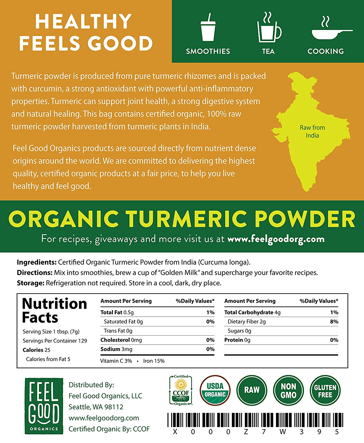 Feelgood Organics Turmeric Powder Nutrition